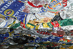 Crushed cans at Ollerton recycling plant,