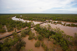 The water laps at Willare Bridge as the flood waters keep rising. The 2011 wet season has been well above average