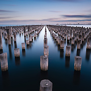 Rows of pylons at Princes Pier, Port Melbourne