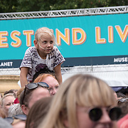 Thousands attends to watching live performances screaming at West End Live on June 17 2018 in Trafalgar Square, London.