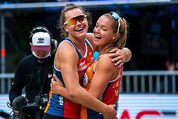 Mexime van Driel, Emi van Driel in action during the last day of the beach volleyball event King of the Court at Jaarbeursplein on September 12, 2020 in Utrecht.