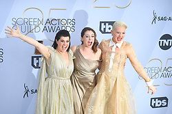 January 27, 2019 - Los Angeles, California, U.S - KIMMY GATEWOOD, RACHEL BLOOM AND REBEKKA JOHNSON during silver carpet arrivals for the 25th Annual Screen Actors Guild Awards, held at The Shrine Expo Hall. (Credit Image: © Kevin Sullivan via ZUMA Wire)