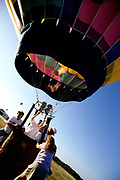 Hot air balloon being prepared for lift off. Hudson Valley, New York