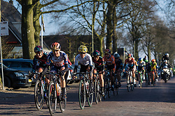 Lead group enter Dwingeloo for the first of three local laps  - Drentse 8, a 140km road race starting and finishing in Dwingeloo, on March 13, 2016 in Drenthe, Netherlands.