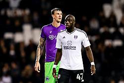 Aden Flint of Bristol City and Aboubakar Kamara of Fulham look on - Rogan/JMP - 31/10/2017 - Craven Cottage - London, England - Fulham FC v Bristol City - Sky Bet Championship.