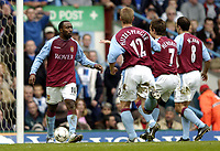 Photo: Richard Lane.<br /> Aston Villa v Chelsea. Barclaycard Premiership. 12/04/2004.<br /> Darius Vassell celebrates scoring Villa's penatly.
