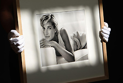 An employee at Christie's auction house holds 'Diana, Princess of Wales' by Mario Testino, 1997, which is expected to fetch 18,000 - 22,000 at Christie's sale of photographs this Friday.