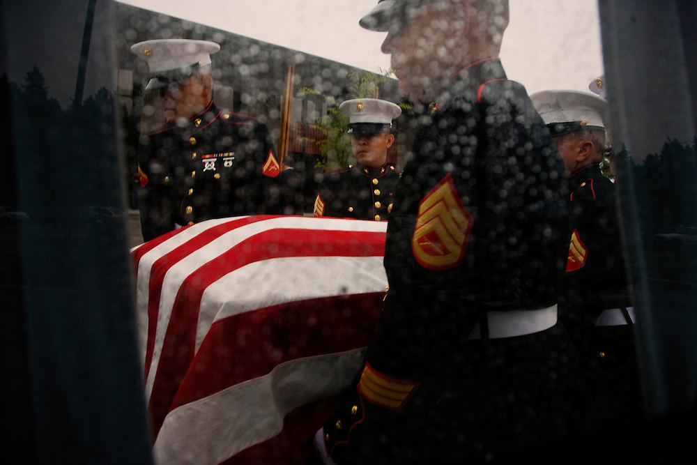 The Marine Honor Guard carries the casket of Lt. Madrazo...Service (Funeral) for Lt. Nicolas Madrazo of Bothell, Washington. Killed in Action September 9, 2008 in Afghanistan...Westminster Chapel, Bellevue, Washington.