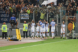 August 26, 2017 - Rome, Italy - Players F.C. inter celebrates after scoring a goal during the Italian Serie A football match between A.S. Roma and F.C. Inter at the Olympic Stadium in Rome, on august 26, 2017. (Credit Image: © Silvia Lore/NurPhoto via ZUMA Press)