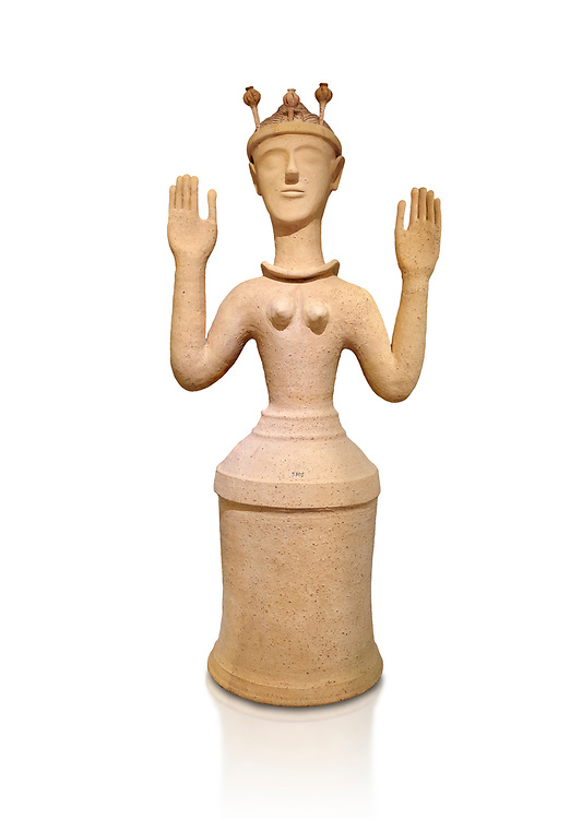 """Minoan Postpalatial terracotta  """"Poppy goddess: statue with raised arms and poppy seed crown,  Karphi Sanctuary 1300-1200 BC, Heraklion Archaeological Museum, white background. <br /> <br /> The """"Poppy Goddess"""" statuye is crowned with opium poppy seed heads. As opium is a hallucinogen that also sedates and has healing properties, experts assume this was the goddess of pain relief and healing/ During this period both Minoan and Mycenaean graves were found in Karphi snctuary so these cult gods are attributable to both cultures .<br /> <br /> If you prefer to buy from our ALAMY PHOTO LIBRARY  Collection visit : https://www.alamy.com/portfolio/paul-williams-funkystock/minoan-art-artefacts.html . Type -   Heraklion   - into the LOWER SEARCH WITHIN GALLERY box. Refine search by adding background colour, place, museum etc<br /> <br /> Visit our MINOAN ART PHOTO COLLECTIONS for more photos to download  as wall art prints https://funkystock.photoshelter.com/gallery-collection/Ancient-Minoans-Art-Artefacts-Antiquities-Historic-Places-Pictures-Images-of/C0000ricT2SU_M9w"""