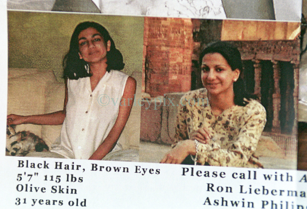 18 September 2001. New York, New York - USA.<br /> Post 9/11 World Trade Center attack.<br /> John Philips' missing sister Dr Sneha Ann Philip. Sneha disappeared the morning of the 9/11 attack. John claimed she used to walk past the Twin Towers every morning on her way to work. He fears she might be one of the earliest victims of the coordinated Al Qaeda attack which claimed over 2,000 lives at the site of the Twin Towers.<br /> It was later discovered that his sister was indeed just one more of the many victims killed in the attack.<br /> Photo exclusive©; Charlie Varley/varleypix.com