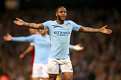 Manchester City's Raheem Sterling remonstrates after team mate Leroy Sane's goal is disallowed