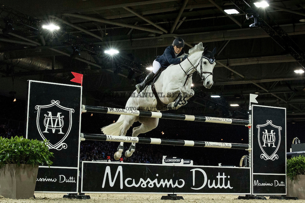 Laura Renwick on Rembrandt Blue competes during Massimo Dutti Trophy  at the Longines Masters of Hong Kong on 21 February 2016 at the Asia World Expo in Hong Kong, China. Photo by Juan Manuel Serrano / Power Sport Images