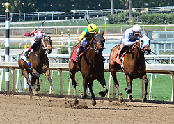 March 30, 2018 - Arcadia, California, USA - Horse Racing - Horses hit their stride as they approach the finish line in the 7th race   at Santa Anita Race Track, Arcadia, California, USA, March 29, 2018...Credit Image  cr  Scott Mitchell/ZUMA Press (Credit Image: © Scott Mitchell via ZUMA Wire)
