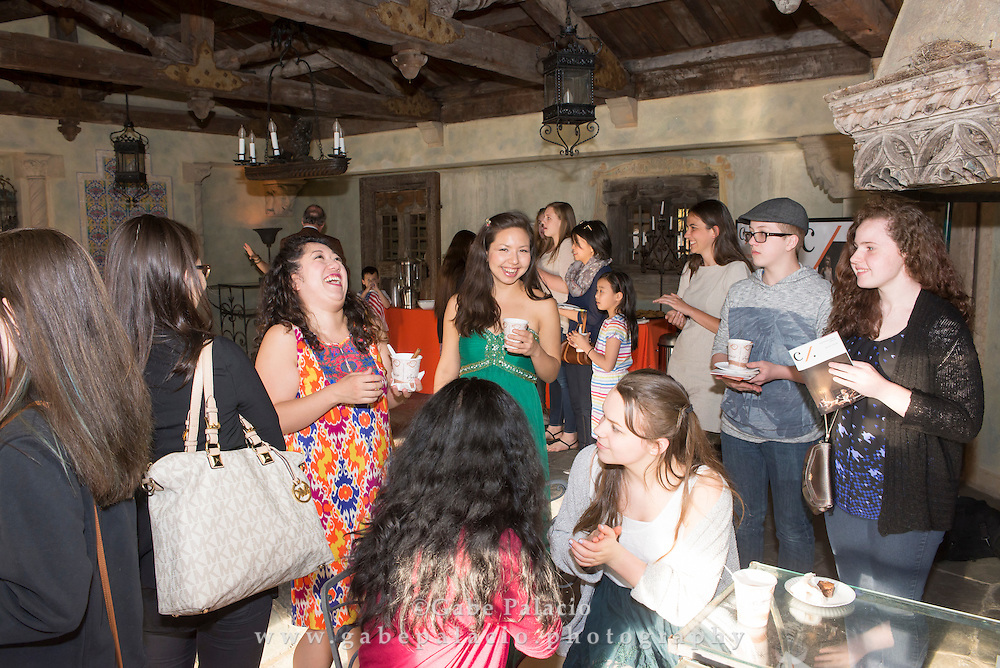 Post concert reception with the Aizuri Quartet, the 2015-16 Ernst Stiefel String Quartet-in-Residence, in the summer dining room of the Rosen House at Caramoor in Katonah New York on April 17, 2016. <br /> (photo by Gabe Palacio)