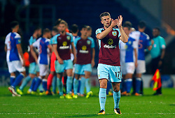 Burnley's Johann Gudmundsson thanks the travelling fans after the Carabao Cup, Second Round match at Ewood Park, Blackburn.