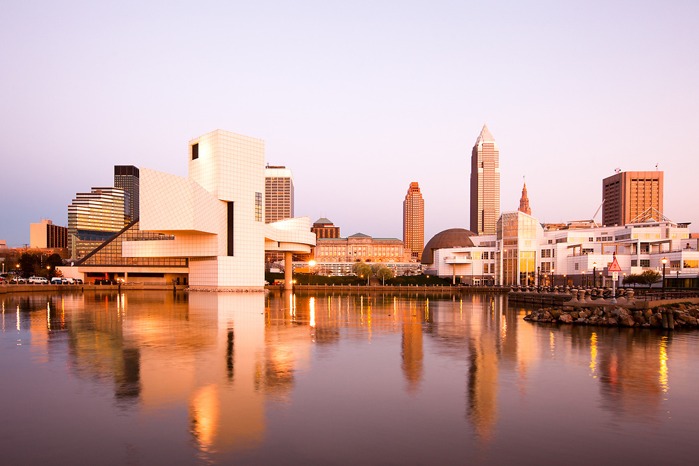 Skyline city downtown from the harbor, Cleveland, Ohio, United States