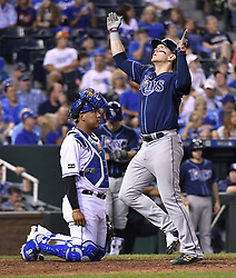 August 30, 2017 - Kansas City, MO, USA - The Tampa Bay Rays' Logan Morrison celebrates his solo home run in front of Kansas City Royals catcher Salvador Perez in the fifth inning at Kauffman Stadium in Kansas City, Mo., on Wednesday, Aug. 30, 2017. (Credit Image: © John Sleezer/TNS via ZUMA Wire)