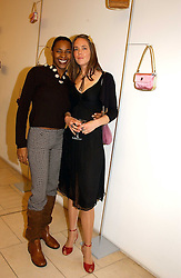 Left to right, singer SONIQUE and CHRISTINE HOLMES of Froggy at a party to celebrate the european launch of Froggy handbags held at BB Italia, Brompton Cross, London on 24th October 2004.<br /><br />NON EXCLUSIVE - WORLD RIGHTS