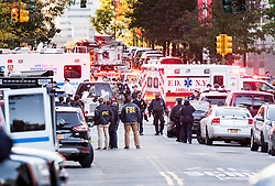 The scene near where a terrorist driven truck killed people on a bike path on the west side of lower Manhattan on October 31, 2017 in New York, NY