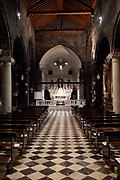 Church in Portovenere at night, Italy.