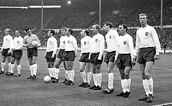 England line up on the field. This is the team that beat France 2-0 at Wembley. Left to right: Bobby Moore (captain); George Cohen, Gordon Banks; Ian Callaghan; Roger Hunt; Ray Wilson; Nobby Stiles; Bobby Charlton; Martin Peters; Jimmy Greaves and Jackie Charlton.