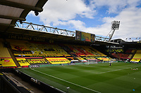 Football - 2019 / 2020 Premier League - Watford vs. Leicester City<br /> <br /> The seats covered with banners and flags, at Vicarage Road.<br /> <br /> COLORSPORT/ASHLEY WESTERN