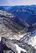 Stehekin River Valley, seen from atop Sahale Mountain, in North Cascades National Park, Washington, USA. October 1, 1982.