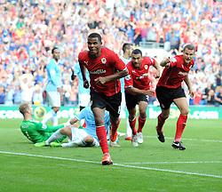 Cardiff City's Fraizer Campbell celebrates scoring to make it 2-1  - Photo mandatory by-line: Joe Meredith/JMP - Tel: Mobile: 07966 386802 25/08/2013 - SPORT - FOOTBALL - Cardiff City Stadium - Cardiff -  Cardiff City V Manchester City - Barclays Premier League