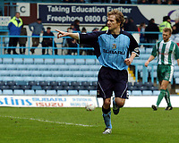 Fotball<br /> Picture: Henry Browne, Digitalsport.<br /> Norway Only<br /> <br /> Date: 10/04/2004.<br /> Coventry City v Millwall Nationwide Division One.<br /> <br /> Gary McSheffrey celebrates after scoring Cov's fourth goal from the spot.