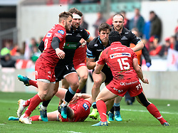 Glasgow Warriors' DTH Van Der Merwe lines up Scarlets' Leigh Halfpenny<br /> <br /> Photographer Simon King/Replay Images<br /> <br /> Guinness PRO14 Round 19 - Scarlets v Glasgow Warriors - Saturday 7th April 2018 - Parc Y Scarlets - Llanelli<br /> <br /> World Copyright © Replay Images . All rights reserved. info@replayimages.co.uk - http://replayimages.co.uk