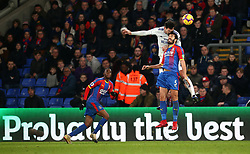 Cardiff City's Sean Morrison and Crystal Palace's James Tomkins battle for the ball in the air during the Premier League match at Selhurst Park, London.