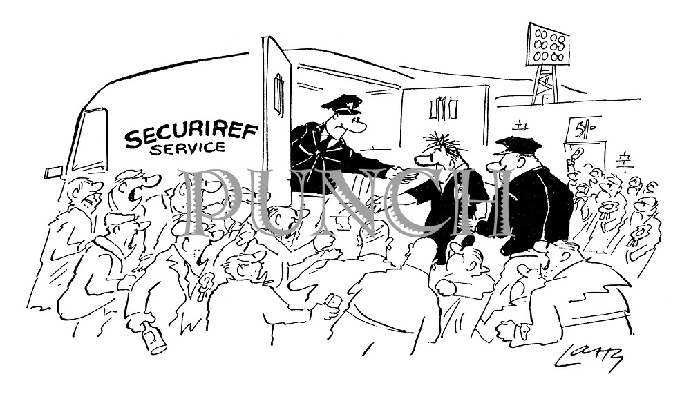 (Securiref Services extracts a football referee from an angry crowd)