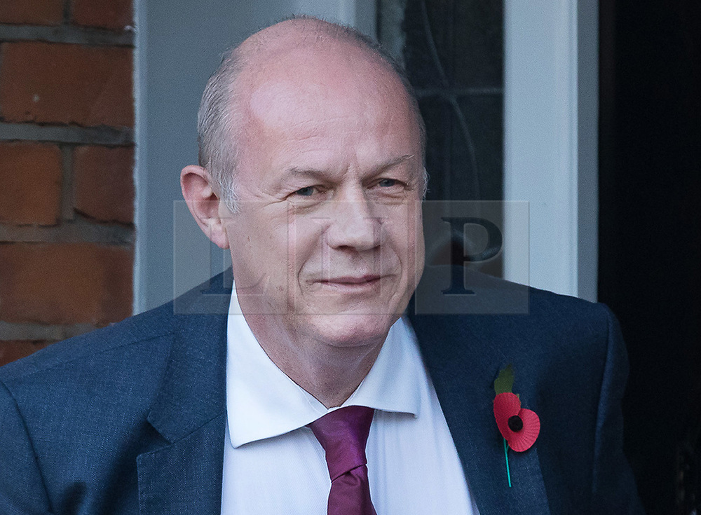 """© Licensed to London News Pictures. 02/11/2017. LONDON, UK.  DAMIAN GREEN, First Secretary of State and Minister for the Cabinet Office leaving his home in west London this morning. Prime Minister Theresa May's deputy, Damian Green has said allegations of inappropriate advances towards a female activist before he joined the cabinet are """"completely false"""". Tory activist Kate Maltby has claimed that that Damian Green """"fleetingly"""" touched her knee in a pub in 2015, and in 2016 sent her a """"suggestive"""" text message.  Photo credit: Vickie Flores/LNP"""