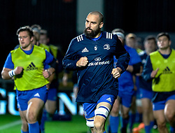 Scott Fardy of Leinster leads his team on a pre match warm up<br /> <br /> Photographer Simon King/Replay Images<br /> <br /> Guinness PRO14 Round 10 - Dragons v Leinster - Saturday 1st December 2018 - Rodney Parade - Newport<br /> <br /> World Copyright © Replay Images . All rights reserved. info@replayimages.co.uk - http://replayimages.co.uk