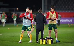 LEUVEN, BELGIUM - Wednesday, March 24, 2021: Wales' Connor Roberts (L) and Ethan Ampadu during the FIFA World Cup Qatar 2022 European Qualifying Group E game between Belgium and Wales at the King Power Den dreef Stadium. Belgium won 3-1. (Pic by Vincent Van Doornick/Isosport/Propaganda)