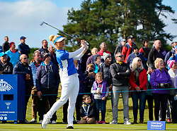 Auchterarder, Scotland, UK. 15 September 2019. Sunday Singles matches on final day  at 2019 Solheim Cup on Centenary Course at Gleneagles. Pictured; Charley Hull Team Europe tee shot on 10th hole.  Iain Masterton/Alamy Live News