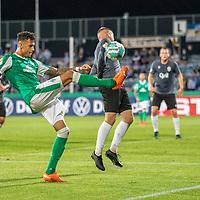 12.09.2020, Ernst-Abbe-Sportfeld, Jena, GER, DFB-Pokal, 1. Runde, FC Carl Zeiss Jena vs SV Werder Bremen<br /> <br /> Davie Selke  (SV Werder Bremen #09)<br /> Dennis Slamar (Carl Zeiss Jena #04)<br /> <br /> <br />  <br /> <br /> <br /> Foto © nordphoto / Kokenge
