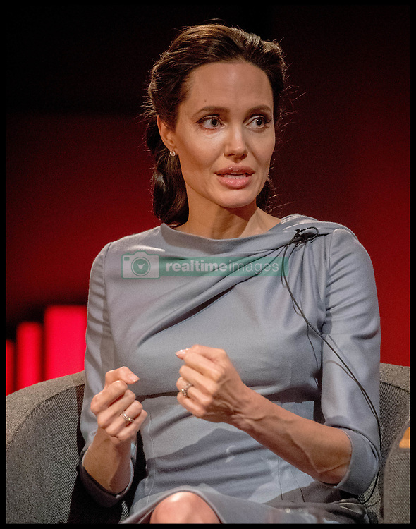 May 16, 2016 - London, United Kingdom - ANGELINA JOLIE PITT at her keynote address at the BBC. The actress and UNHCR Special Envoy, gave  a keynote address on the global refugee crisis at the BBC Broadcasting House. Her speech forms part of a day of special live coverage around migration at Broadcasting House. (Credit Image: © Andrew Parsons/i-Images via ZUMA Wire)