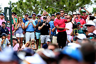 May 13, 2018; Ponte Vedra Beach, FL, USA; Tiger Woods plays his shot from the fourth tee during the final round of The Players Championship golf tournament at TPC Sawgrass - Stadium Course. Mandatory Credit: Peter Casey-USA TODAY Sports