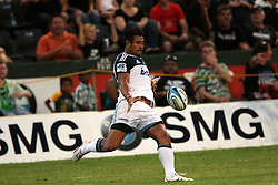 Isaia Toeava of The Blues clears from the back during the Super15 match between The Mr Price Sharks and The Blues held at Mr Price Kings Park Stadium in Durban on the 26th February 2011..Photo By:  Ron Gaunt/SPORTZPICS