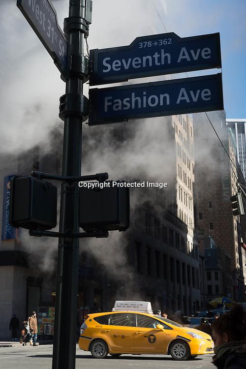 New York, Manhattan in the steam on 34street