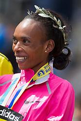 2013 Boston Marathon: Rita Jeptoo, winner, after race