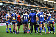 The St Helens players hold a team talk during the Betfred Super League match between Hull FC and St Helens RFC at Kingston Communications Stadium, Hull, United Kingdom on 16 February 2020.