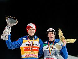 06.01.2015, Paul Ausserleitner Schanze, Bischofshofen, AUT, FIS Ski Sprung Weltcup, 63. Vierschanzentournee, Siegerehrung Gesamtwertung, im Bild Tagessieger und Tournee zweite Michael Hayboeck (AUT) und Tournee Gesamtsieger Michael Hayboeck (AUT) // secod placed Michael Hayboeck of Austria with overall Champion Stefan Kraft of Austria during Overall Award ceremony of 63 rd Four Hills Tournament of FIS Ski Jumping World Cup at the Paul Ausserleitner Schanze, Bischofshofen, Austria on 2015/01/06. EXPA Pictures © 2015, PhotoCredit: EXPA/ JFK