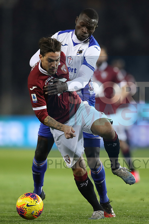 Omar Colley of Sampdoria gets to grips with Simone Verdi of Torino FC during the Serie A match at Stadio Grande Torino, Turin. Picture date: 8th February 2020. Picture credit should read: Jonathan Moscrop/Sportimage