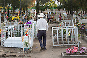 A Mexican cowboy walks past tombs decorated with flowers in the Nuestra Señora de Guadalupe cemetery during the Day of the Dead festival November 1, 2016 in San Miguel de Allende, Guanajuato, Mexico. The week-long celebration is a time when Mexicans welcome the dead back to earth for a visit and celebrate life.