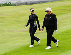 Gleneagles, Scotland, UK; 8 August, 2018.  Day one of golf competition at Gleneagles.. Men's and Women's Team Championships Round Robin Group Stage - 1st Round. Four Ball Match Play format. Gleneagles for the European Championships 2018. Team GB players Georgia Hall (L) and Laura Davies
