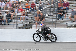 Ebay Jake on his number 13 Harley-Davidson 61 inch racer in the Sons of Speed Vintage Motorcycle Races at New Smyrina Speedway. New Smyrna Beach, USA. Saturday, March 9, 2019. Photography ©2019 Michael Lichter.