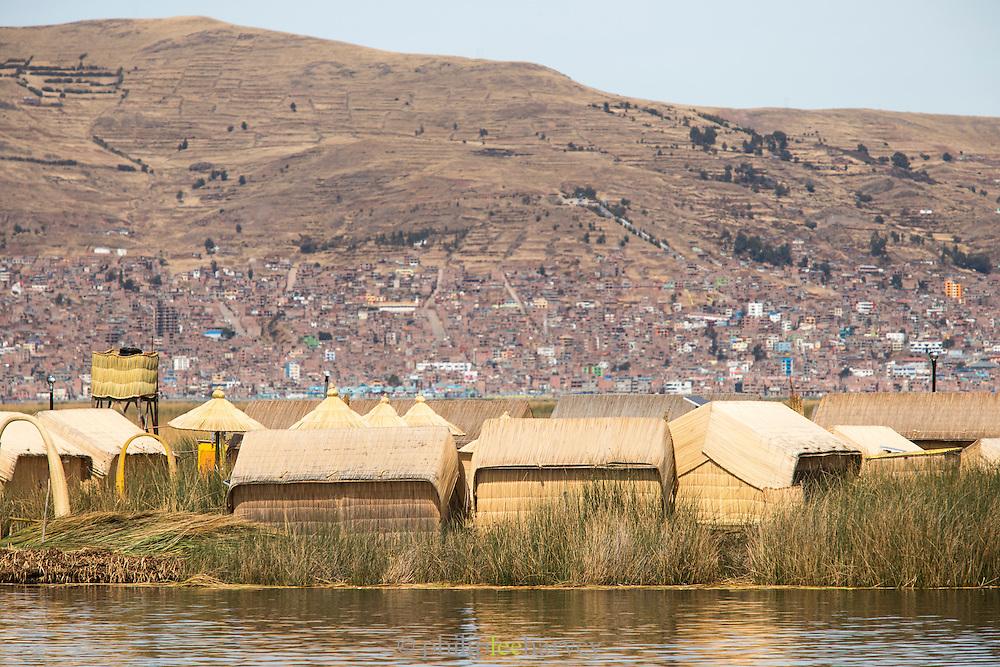 Floating island on Lake Titicaca, Puno, Peru, South America